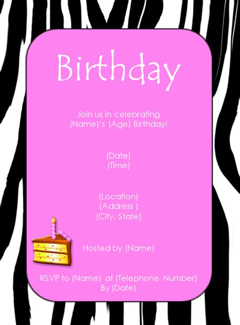 birthday invites templates zebra pink birthday invitation template