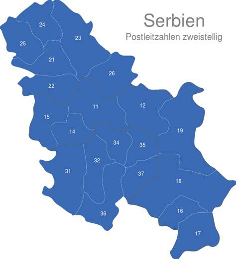 serbien postleitzahlen zweistellig interaktive landkarte