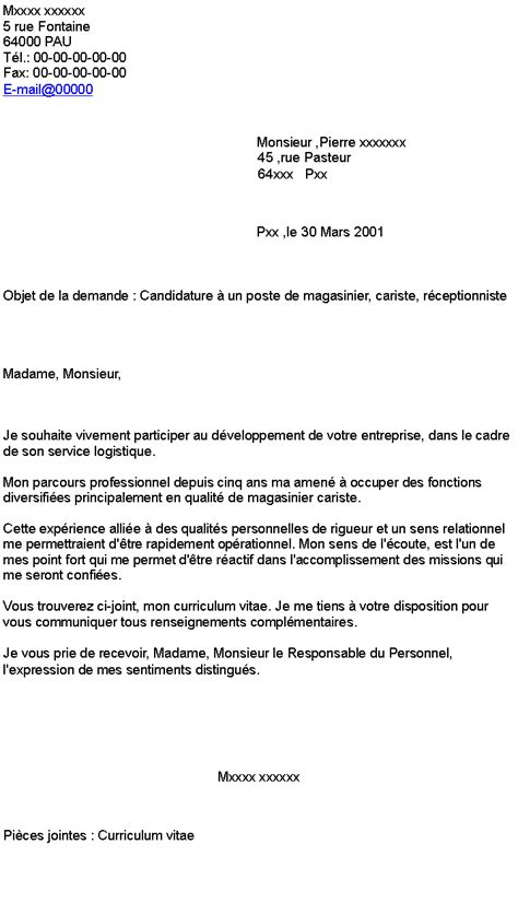Lettre De Motivation De Receptionniste Candidature 224 Un Poste De Magasinier Cariste R 233 Ceptionniste