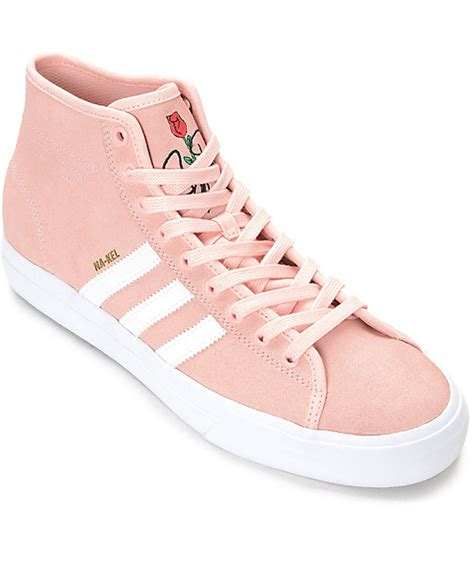 adidas matchcourt hi rx pink white suede shoes at zumiez