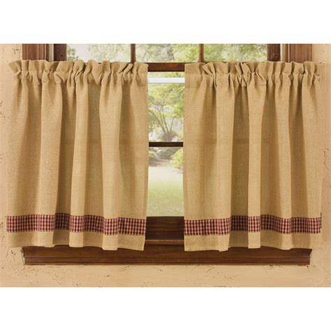 Park Designs Curtains Burlap And Check Unlined Curtain Tiers By Park Designs 24 Quot Or 36 Quot Length Ebay