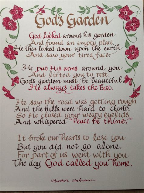 Garden Sayings For Funerals Memorial Poem Gods Garden Funeral Poem 11 X 14 Written