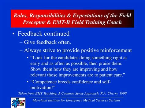 Responsibilities Of A Emt by Ppt Maryland Field Preceptor Emt B Field Coach Orientation Program Powerpoint
