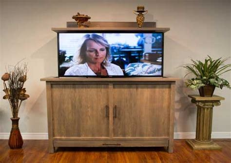 tv lift cabinet canada brown square traditional