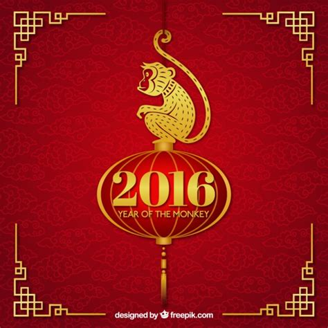 new year golden monkey new year background with a golden monkey vector