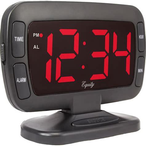 black tilt alarm clock led clear large display dimmer