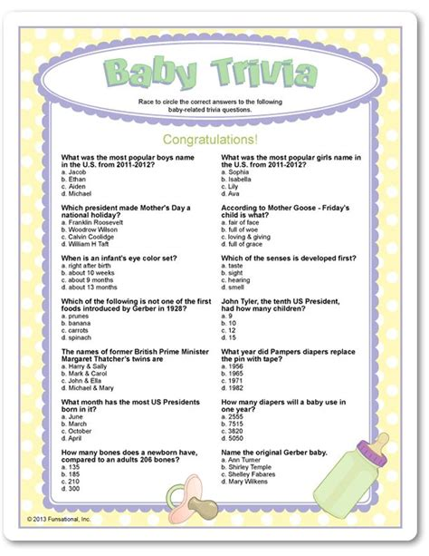 printable quiz for baby shower free printable baby shower trivia game questions