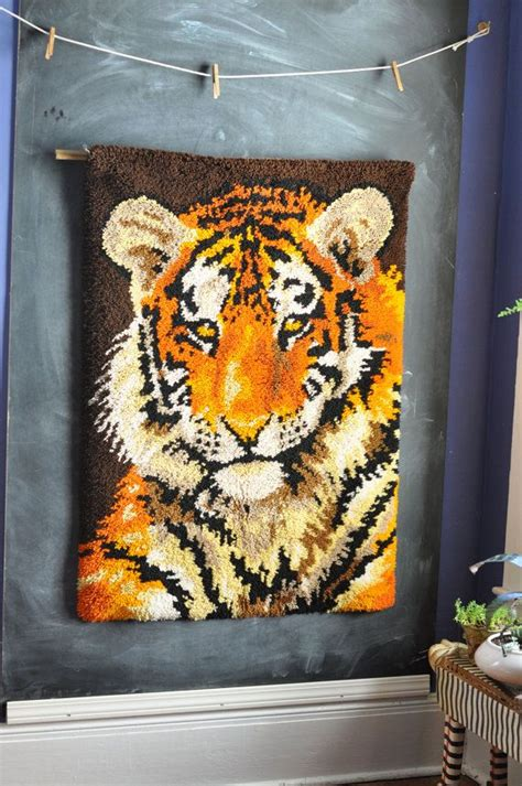 how to hang a latch hook rug vintage tiger latch hook rug wall hanging tapestry vintage hooks and wall hangings