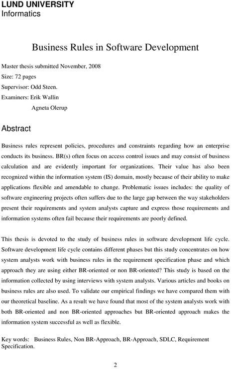 Thesis Abstract About Business | dissertation abstract first person