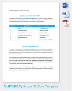 Work Summary Template by Scope Of Work 22 Dowload Free Documents In Pdf Word Excel