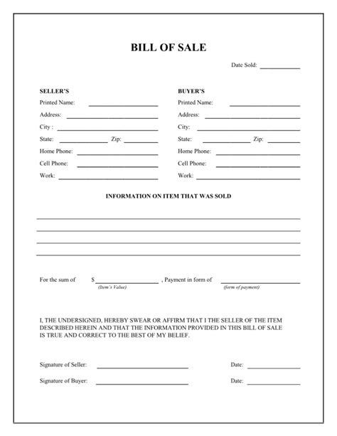 bill of sale form template printable bill of sale form templates calendar template