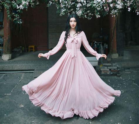 Rossa Sweet Jilbab Pin vintage dress sleeve bow v neck dress pink