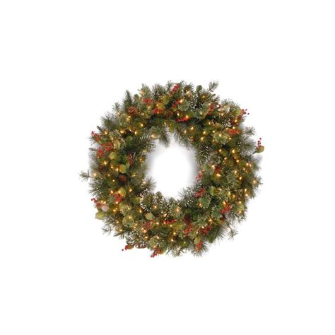 battery led wreath lights national tree company 48 in battery operated mixed fir
