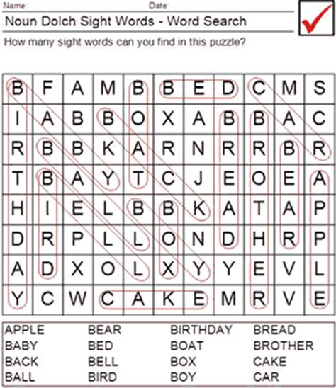 printable wordsearch for grade 1 printable dolch worksheets dolch nouns word search 1