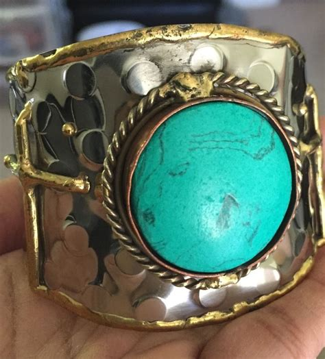 metal cuffs for jewelry large cross turquoise metal silver cuff wide chunky