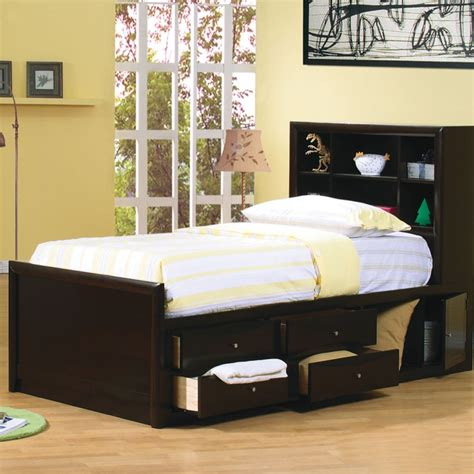 twin bed with storage and headboard bookcases ideas twin storage bed with bookcase headboard
