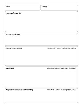 lesson plan template for differentiated differentiated lesson plan template by class