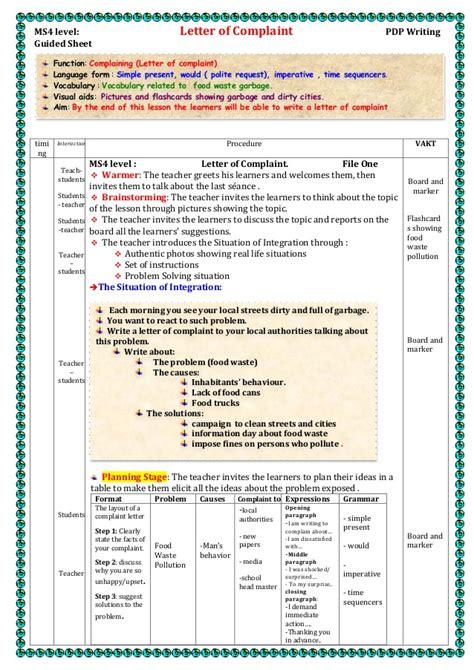 Complaint Letter Lesson Plan Ms4 Level Letter Of Complaint