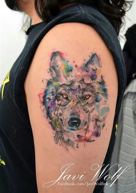 watercolor wolf tattoo javi wolf wolf tattoos