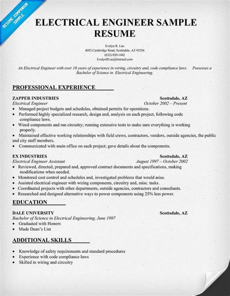 standard resume format for engineers doc electrical engineer resume sle resumecompanion