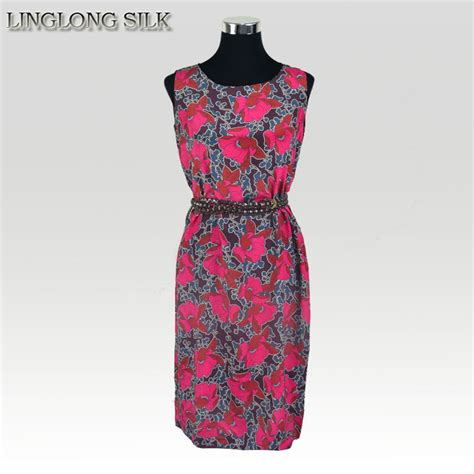 Flowery Dress By Delima Style silk dress 100 silk fabric 2015 summer new style desigual vintage dress floral summer