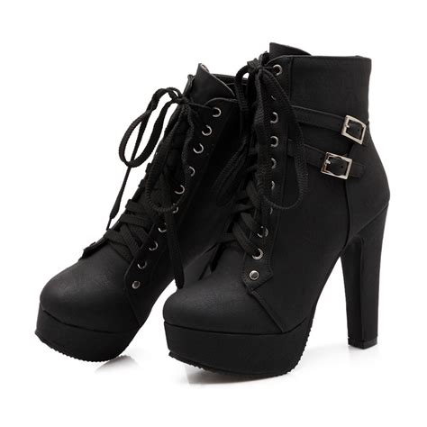 Lace Up Chunky Heel Ankle Boots ericdress chunky heel lace up ankle boots 11404032