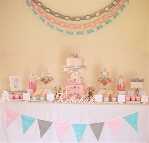 pink decoration idea for christening baby