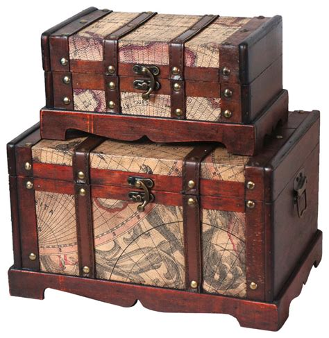 old world map wooden trunk set of 2 rustic decorative