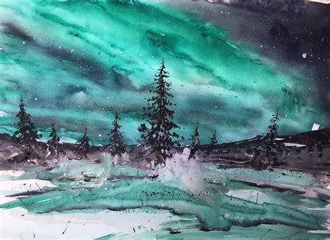 northern lights watercolor oc pics