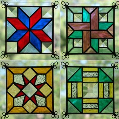 quilt pattern stained glass new set of 4 stained glass quilt pattern suncatcher 408