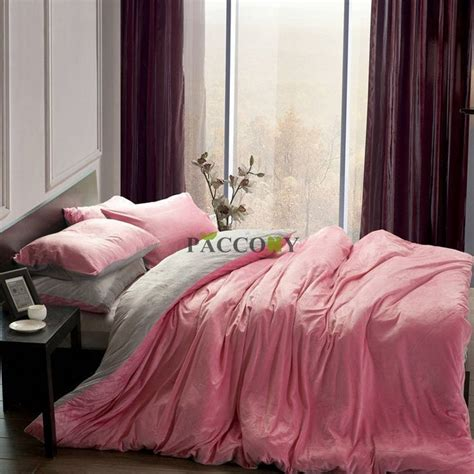 pink king size bedding pink and gray comforter sets solid pink grey velvet 4