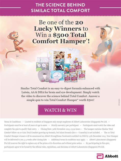 similac total comfort singapore stand a chance to win a similac total comfort her worth