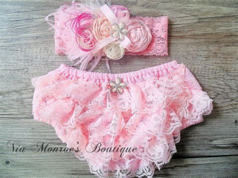 ivory cover for lace bloomers and headband couture pink bloomers pink ivory feather
