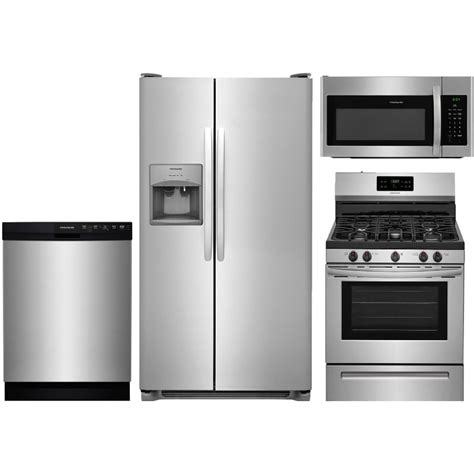 kitchen package deals on appliances frigidaire stainless steel 4 piece gas kitchen package
