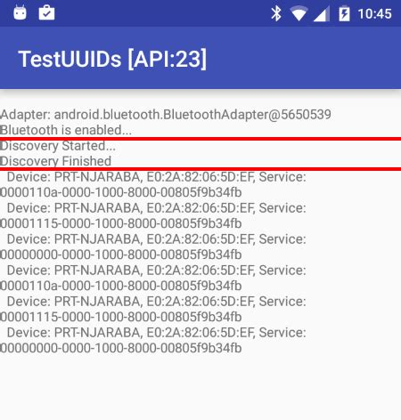 android getlayout returns null android marshmallow api 23 bluetooth uuid returns null