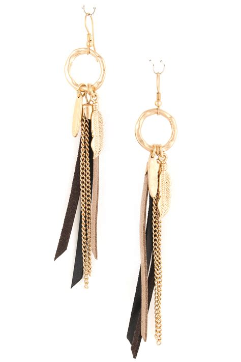 Tassel Earring Key leaf charm with faux leather tassel earrings