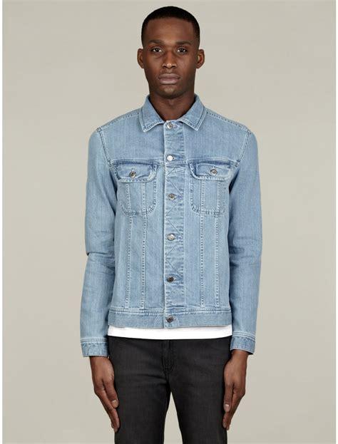 denim washed jacket a p c mens washed denim jacket in blue for denim lyst