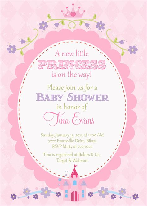 Princess Baby Shower Invitation Templates Free princess baby shower invitations template best template