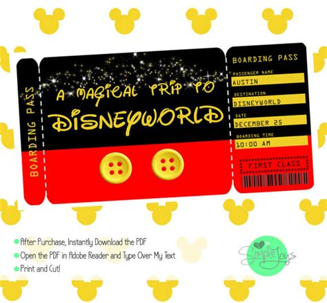 printable disneyland tickets printable ticket to disney by simplejoysstudio on etsy