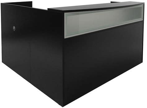 black reception desk black reception desk w frosted glass panel