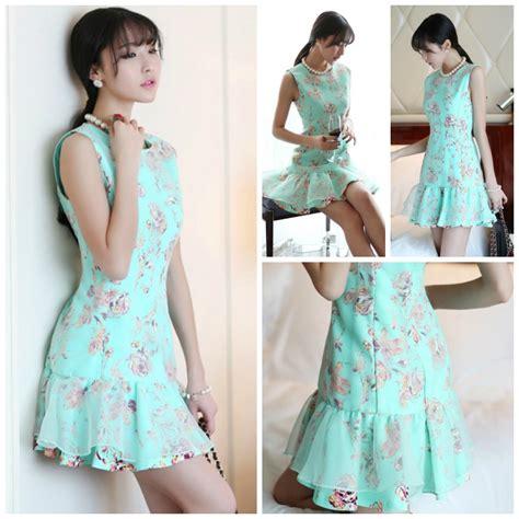 Dress Import Merk R J Story motif baju bunga pada dress korea terbaru baju