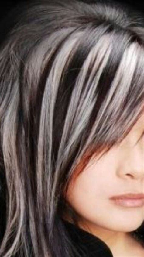 gray streaks in dark hair best 25 gray hair highlights ideas on pinterest grey