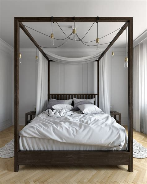 dark wood bed four poster canopy bed bedroom rustic with cathedral