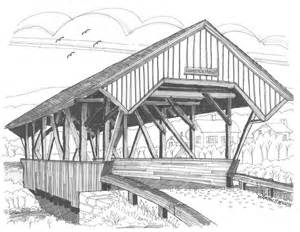 Duvet Cover Black And White Chamberin Mill Covered Bridge Drawing By Richard Wambach