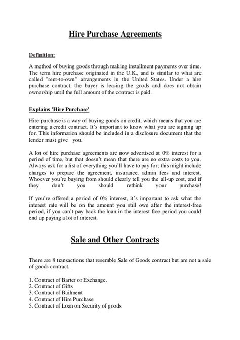 Agreement Letter For Hire Purchase Buyer Seller Goods
