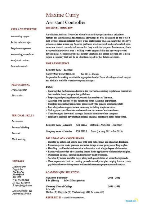 Cv In Controller Assistant Controller Resume Sle Exle Accounting Finance Description Work
