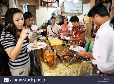 Traditional food on offer during a baptism party at a