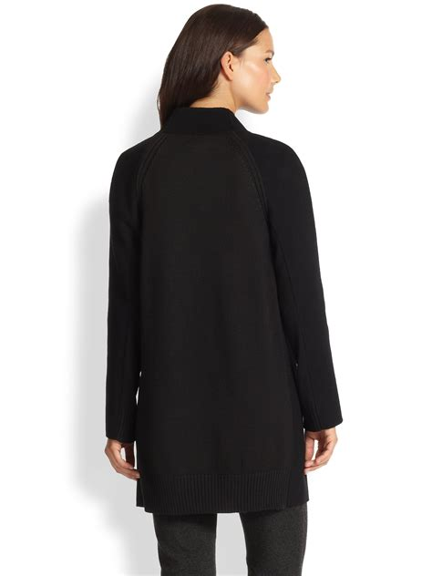 draped coats vince sweater back draped coat in black lyst