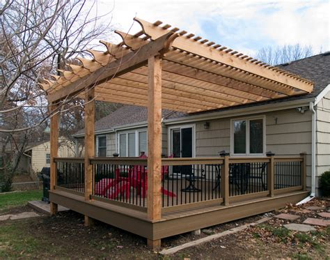 how to build a pergola a deck boothe cedar pergola composite deck traditional deck kansas city by all weather decks