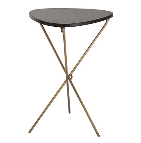 folding accent table wilmington modern triangle iron marble folding side table